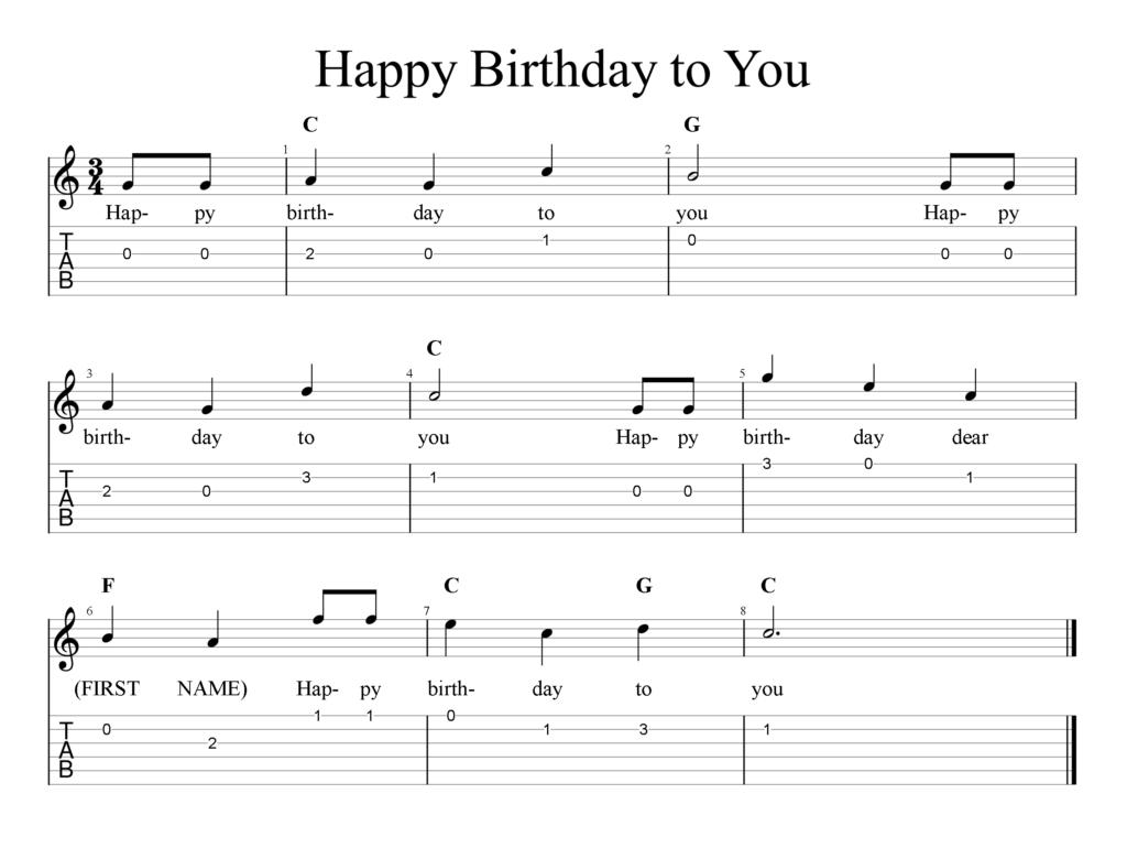Happy Birthday To You Tab Freewheelinguitar
