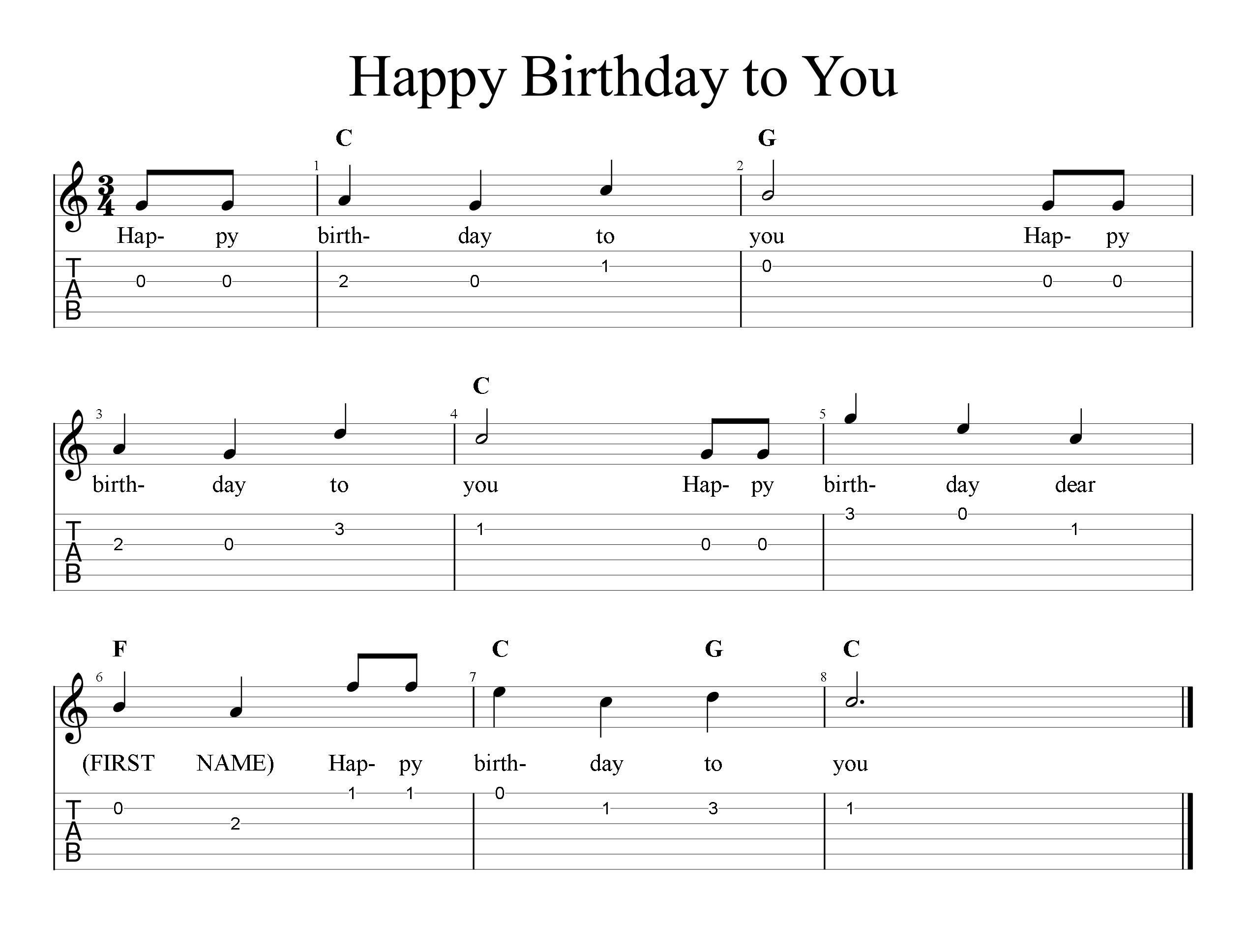 Happy Birthday - Tab & Sheet Music | FreeWheelinGuitar.com