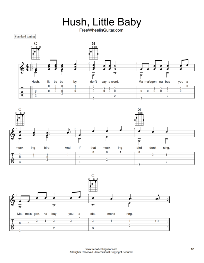 Hush, Little Baby - Tab & Sheet Music | FreeWheelinGuitar.com